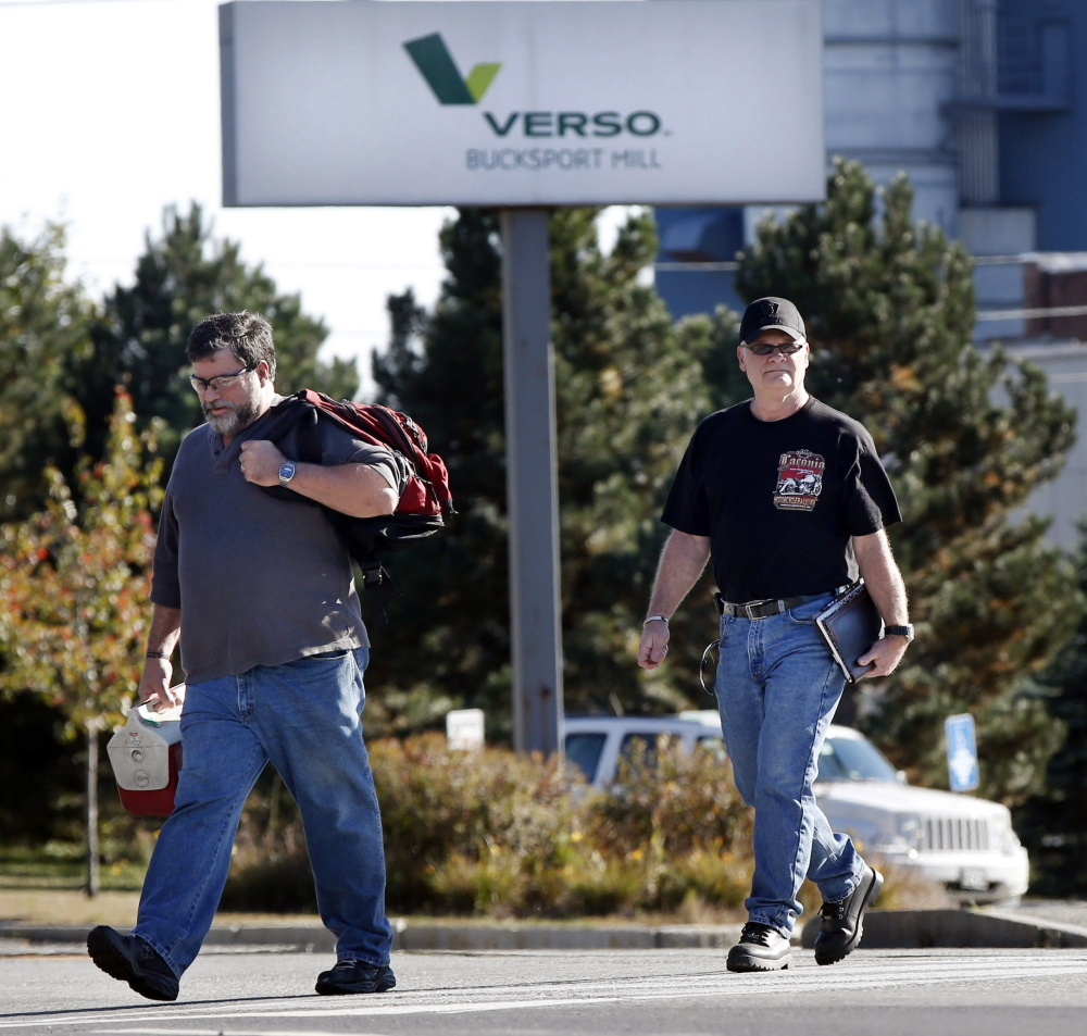 A lawsuit against Verso Paper Corp. seeks to stop the sale of the company's Bucksport mill and force immediate severance payments to workers.