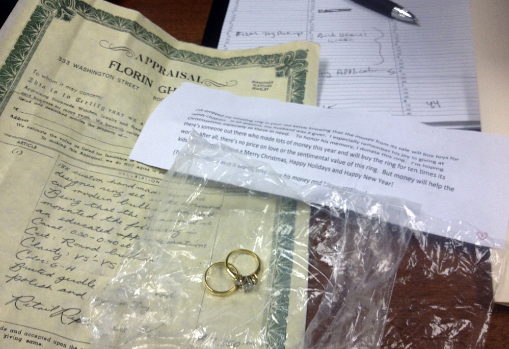 AP photo/Salvation Army The donation of a $1,500 pendant comes after a widow dropped her wedding rings into a Salvation Army kettle in Boston and another widow donated $21,000 so she could return the rings to their original owner.