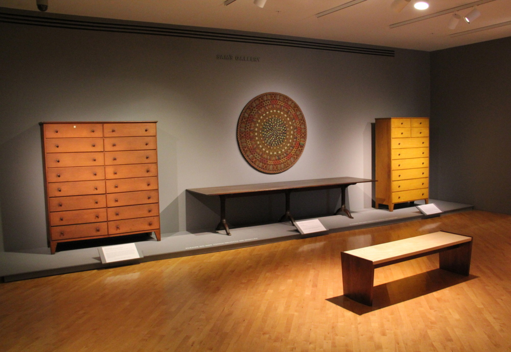 The Rockland museum show features a range of Shaker furniture, implements, art and artifacts.