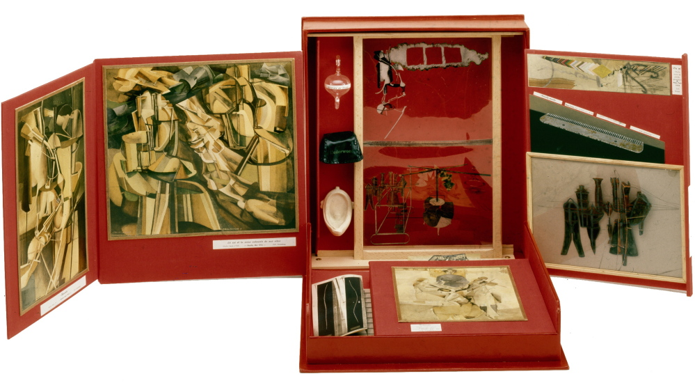 """Boîte en-Valise,"" 1961, box by Marcel Duchamp containing miniature reproductions of his work."
