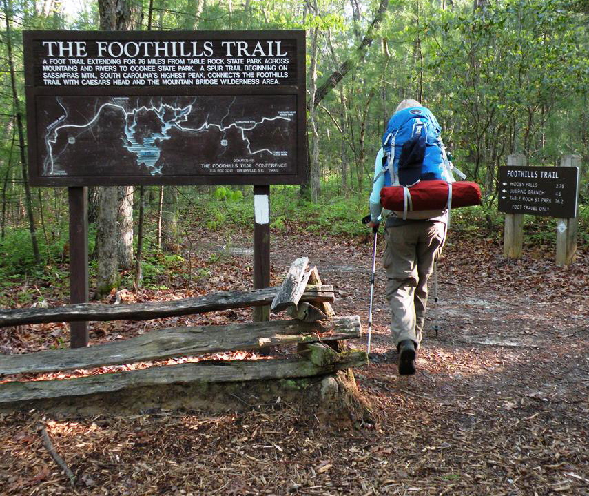 The Foothills Trail in South Carolina includes a series of high wooded ridges that culminates with Sassafras Mountain, the state's highest point.