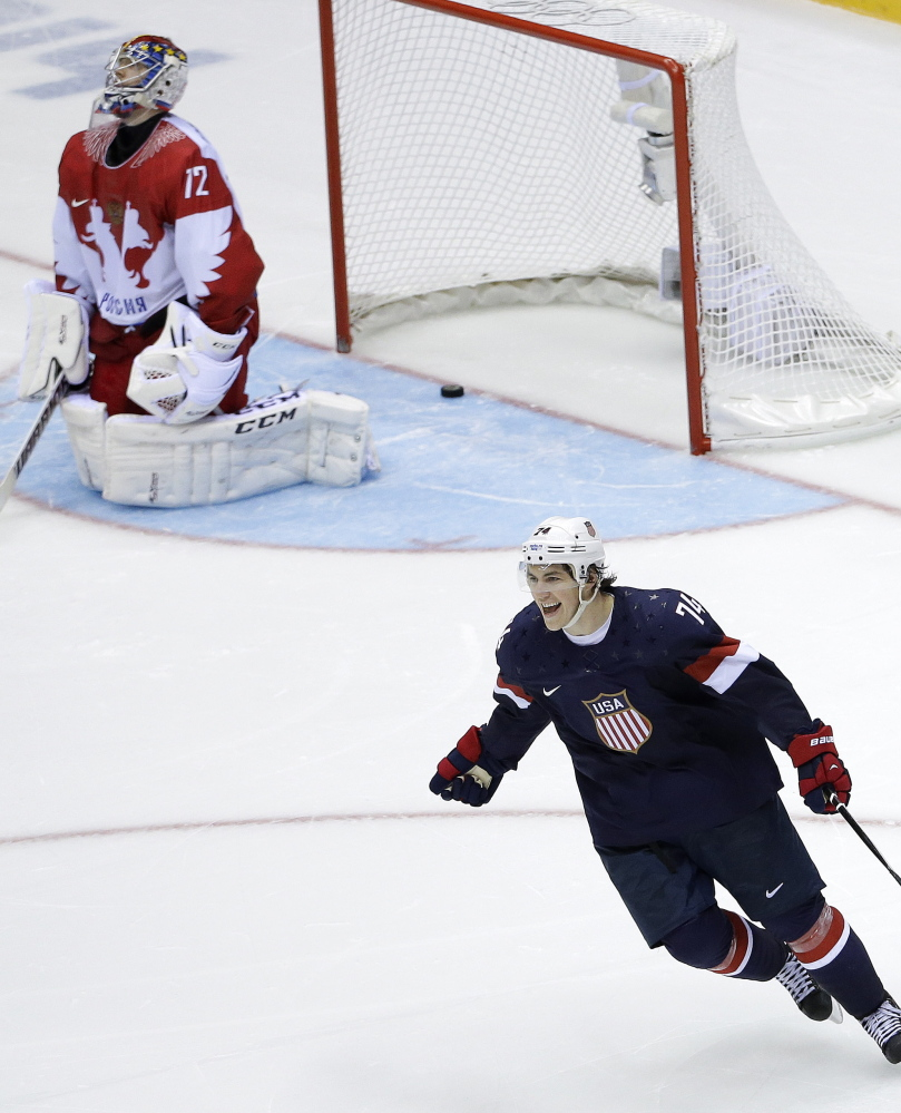 T.J. Oshie was asked to deliver again and again, and went out and delivered again and again for the United Staes against Russia in the Winter Olympics in Russia, of all places. For many, it was the highlight of the Games.