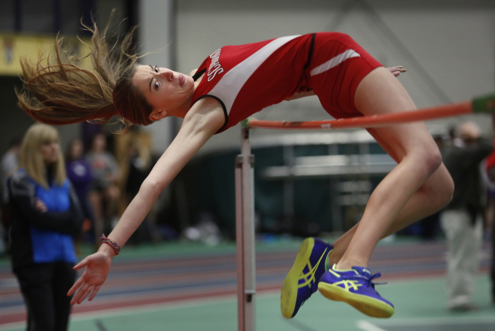 Ellen Shaw of Scarborough competes in the high jump portion of the pentathlon at Gorham. The pentathlon encompasses five events. Shaw captured the high jump phase by clearing 5 feet, 4 inches.