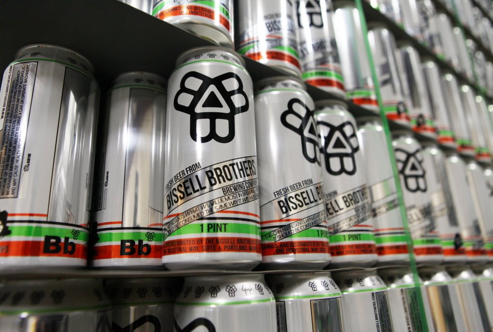 Bissell Brothers brewers say their beer has to be drunk fresh without sitting on shelves. Here empty cans await filling at the brewery, where long lines form at the tap room door. Joel Page/Staff Photographer