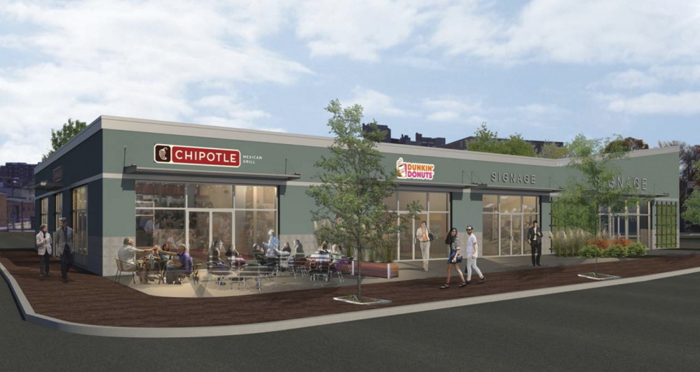 Century Plaza would include a Chipotle Mexican Grill restaurant and a Dunkin' Donuts coffee shop, as shown in this rendering.
