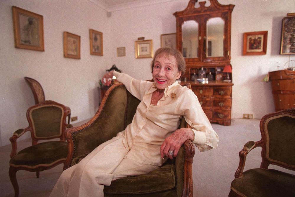 Luise Rainer poses in her central London apartment in 1999.