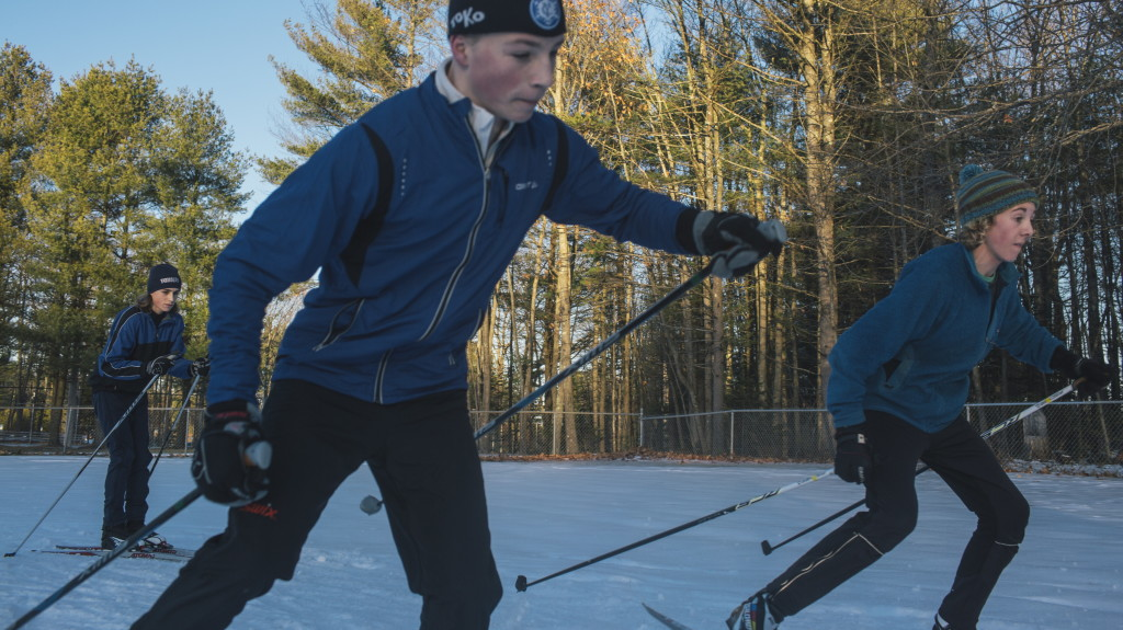 Yarmouth High School cross country skiers Sammy Potter, left, Henry Jones, center, and Ethan Humphries, right, during practice at Yarmouth High School on Thursday, December 4, 2014.