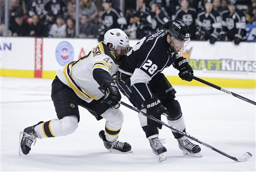 Jarret Stoll, right, of the Kings is defended by Boston Bruins' Matt Bartkowski in Tuesday's game in Los Angeles. The Bruins lost.