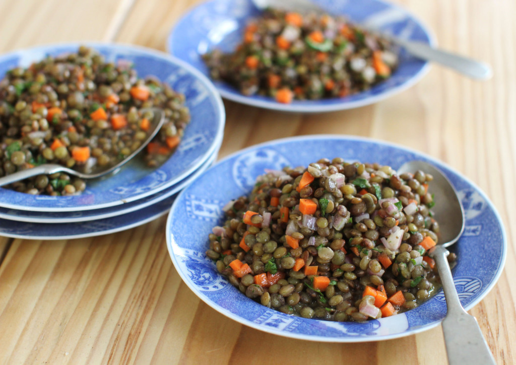 French lentil salad, a dish the author first tasted in Paris.