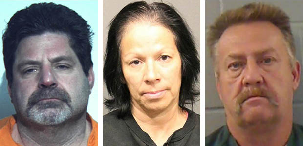 From left, Thomas Reynolds, Marina Saravia and Gerald Gustafson, suspects in meth trafficking in Searsport.