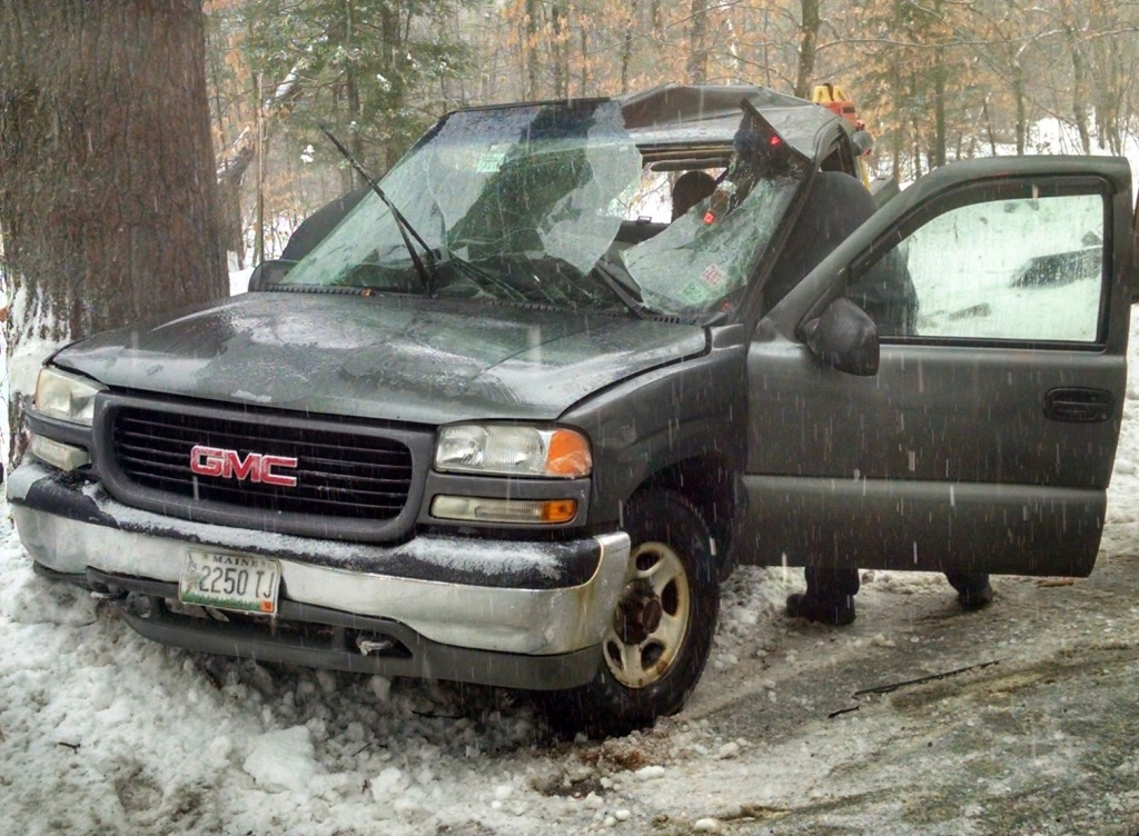 This is the 2011 GMC pickup that Paul Cundiff was driving when he lost control and hit a tree. Photo courtesy of Fryeburg Police Department