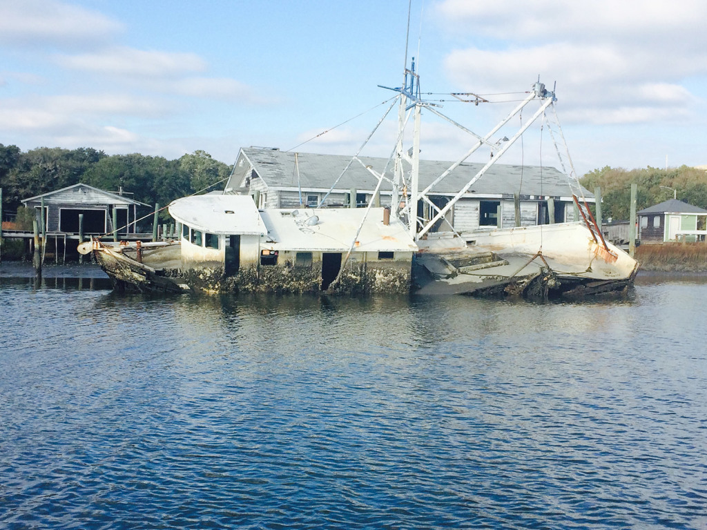 Sailors can get a close up view of this sinking ship on ICW in South Carolina.