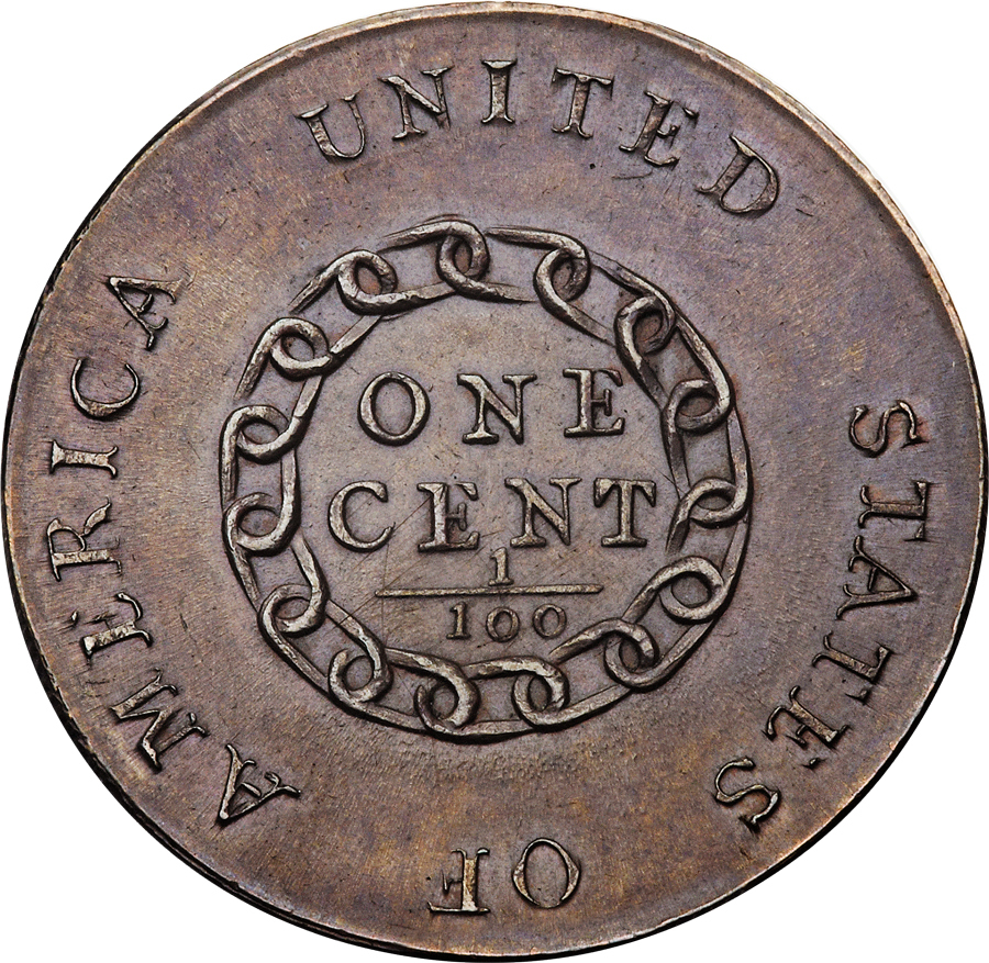 """This rare, 1793 penny, known as a """"chain cent,"""" sold for a world's record $2.35 million in an auction conducted in Orlando, Fla., on Wednesday."""