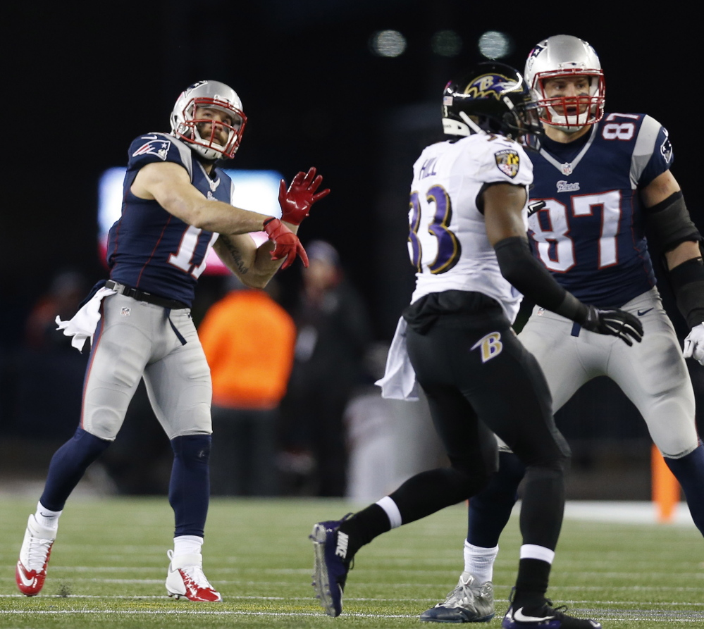 Julian Edelman delivered the most important play for the Patriots in their playoff win against Baltimore on Saturday – a 51-yard scoring pass in the third quarter.