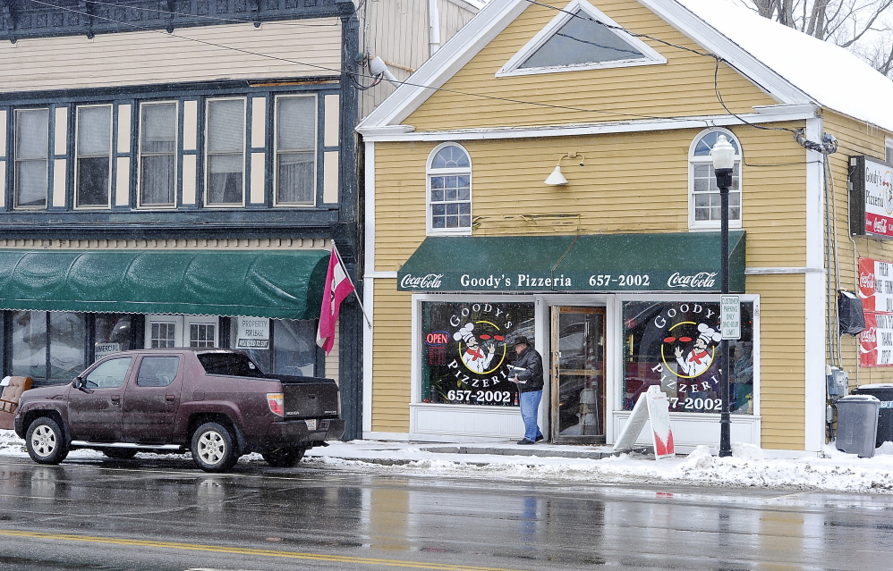 Richard Martin of Bridgton leaves Goody's Pizzeria in Gray, a town that lacks nonprofits, which will hurt the town's  tax base if the governor's idea to let towns tax nonprofits is approved. Gordon Chibroski/Staff Photographer