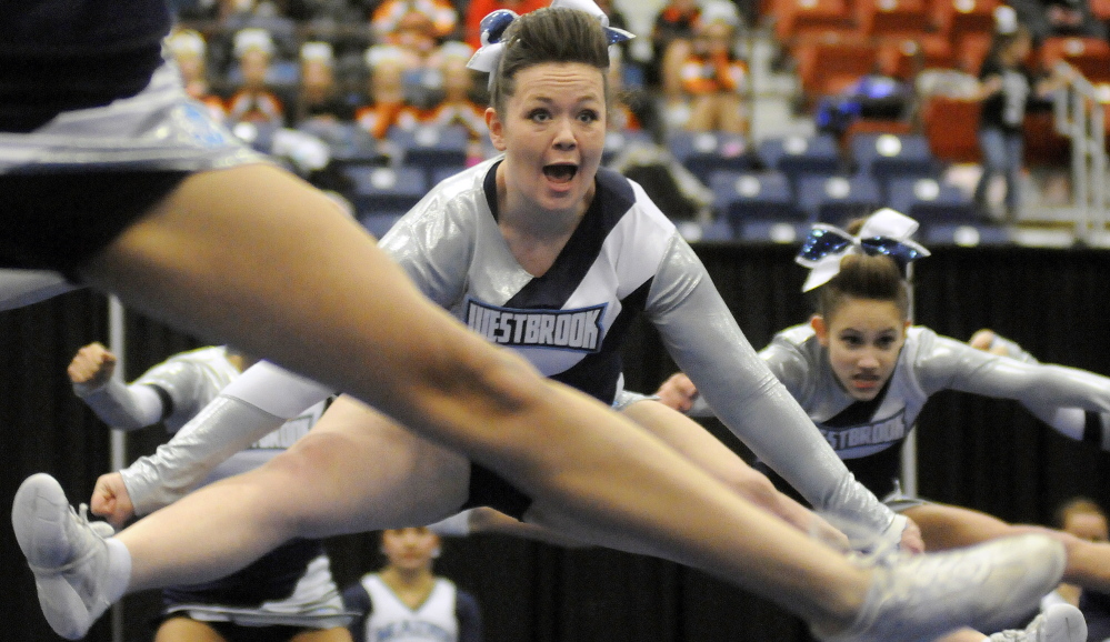 Westbrook performs its routine during the regional championships Monday. The Blue Blazes were not among the six teams to qualify for the state championships, which take place on Feb. 7 at the Augusta Civic Center. Andy Molloy /Kennebec Journal