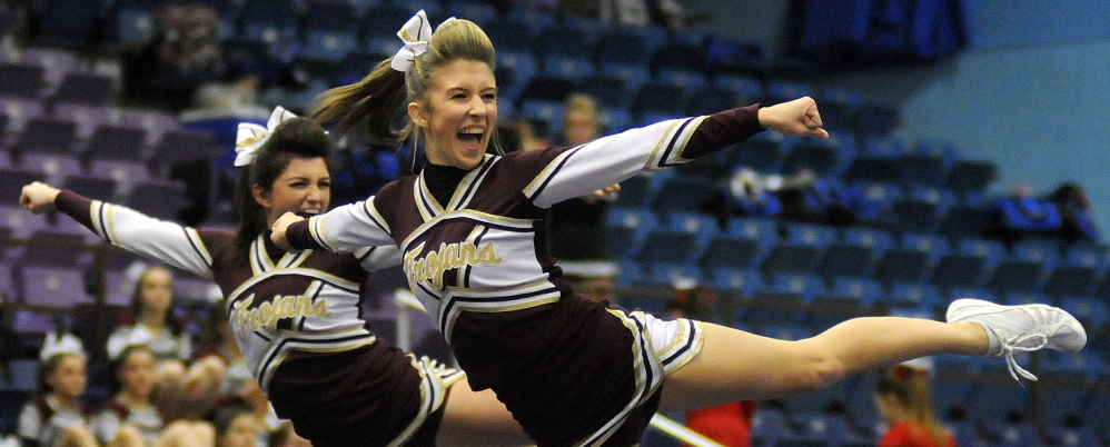 Thornton Academy competes during the Western A cheerleading championships at the Augusta Civic Center. Andy Molloy /Kennebec Journal