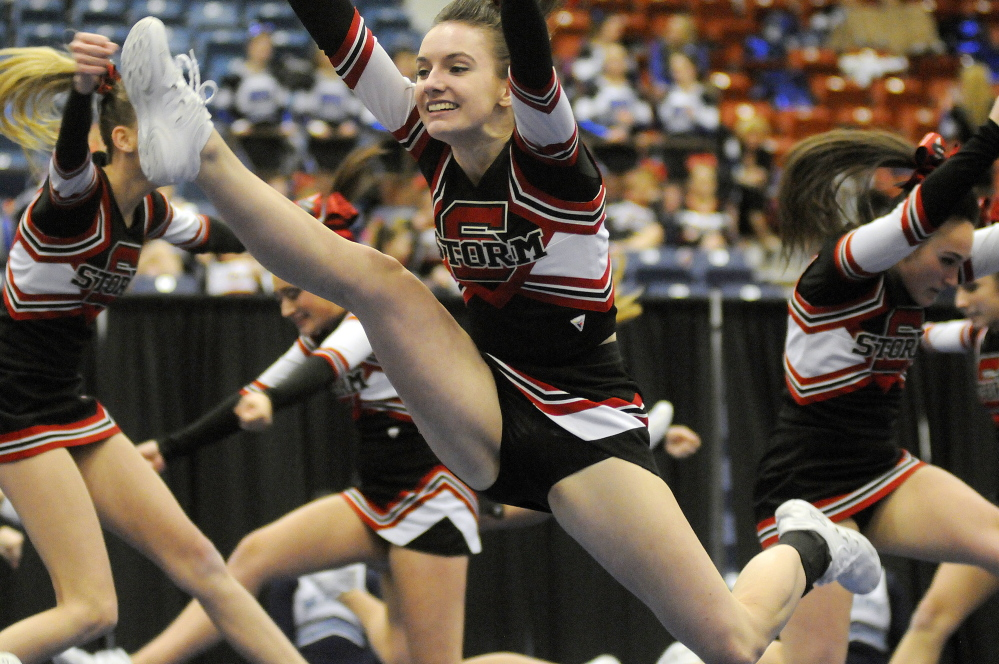 Scarborough High School competes Monday in the Western A championships. Andy Molloy /Kennebec Journal