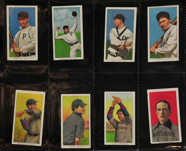 A selection of vintage baseball cards, part of one batch of a large auction being held by Saco River Auction Co. in Biddeford.