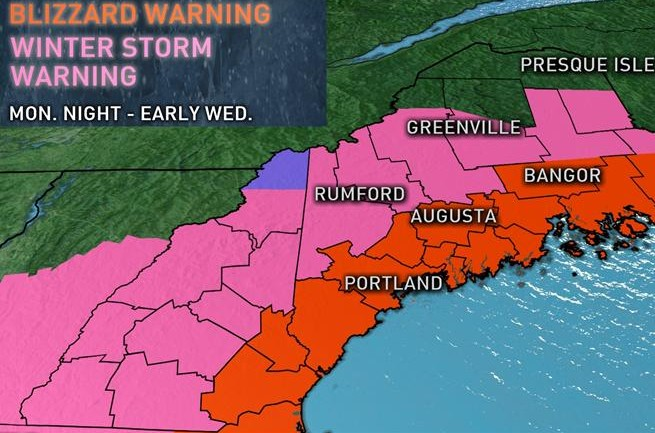 Weather Portland Maine : Blizzard warning issued for coastal central maine