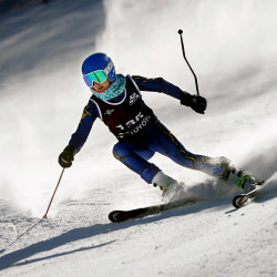 Falmouth's Alex Shapiro makes her way down the slalom course at Mt. Abram in Greenwood during the Class A skiing state championships Wednesday.