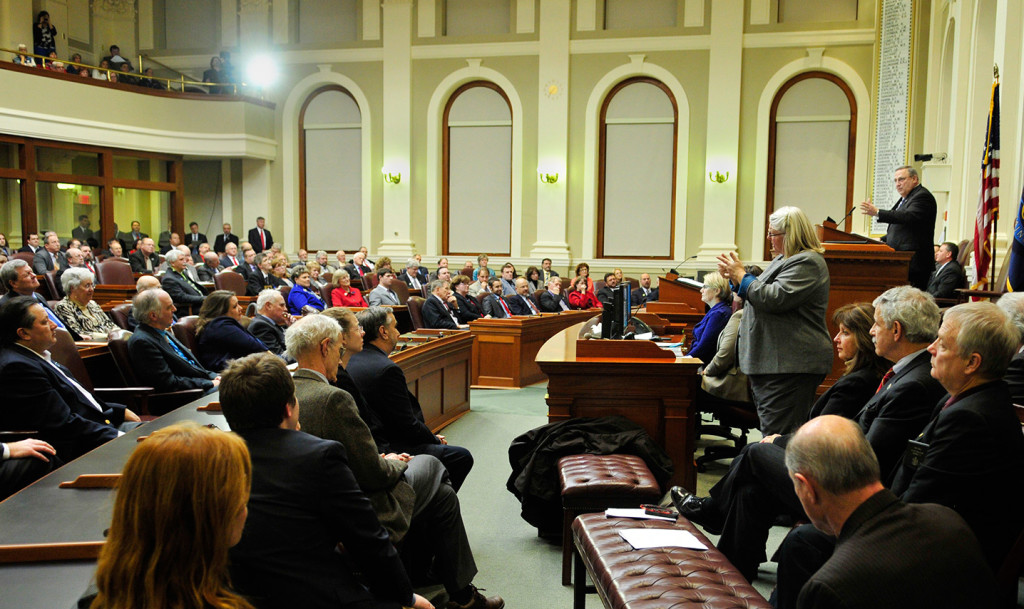 """Gov. Paul LePage gives his State of the State address to lawmakers Tuesday night at the State House. The governor said his budget and proposed changes to Maine's tax code are essential to creating a """"pathway to prosperity."""