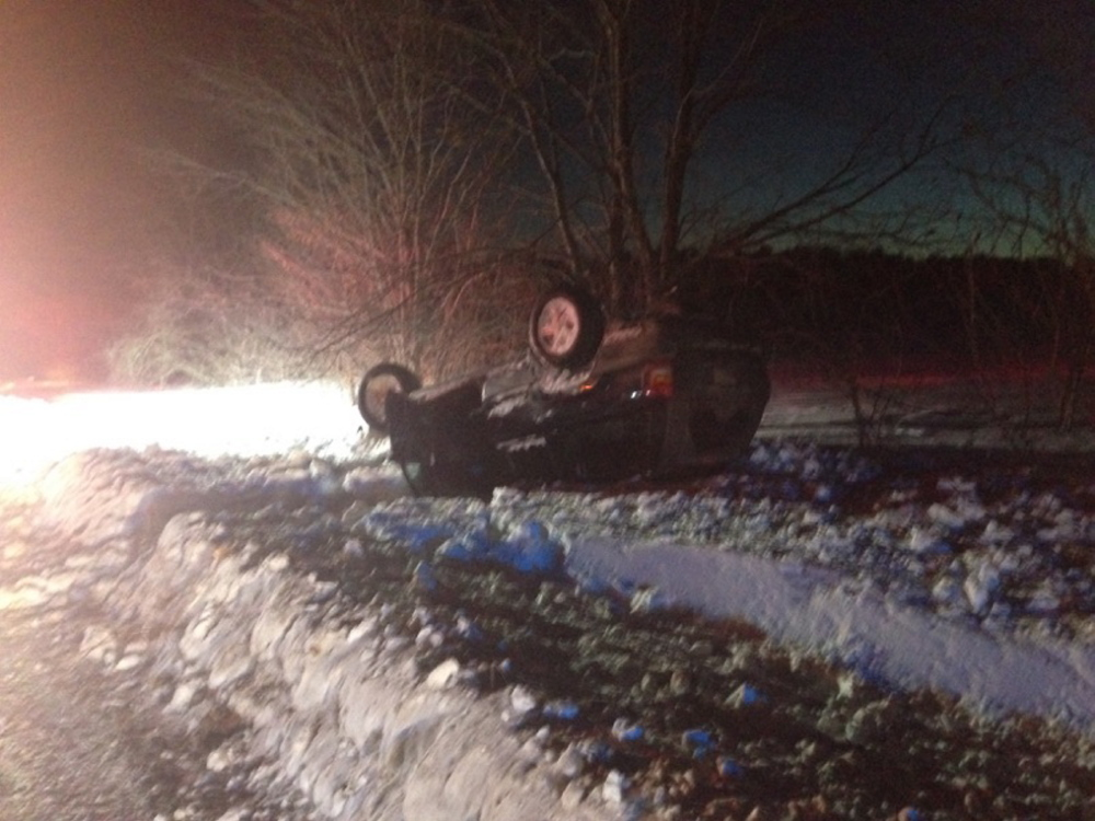 Waterville police say Jennifer Merry of Waterville was driving this Jeep when it flipped over on West River Road Monday. Contributed photo