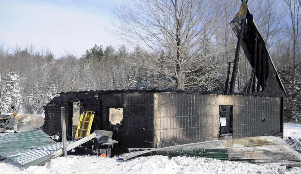 The remnants of a home at 313 Route 17 in Jefferson that burned Monday night.