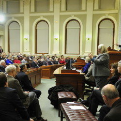 Applause erupts during Gov. LePage's State of the State speech on Feb. 3, 2015.
