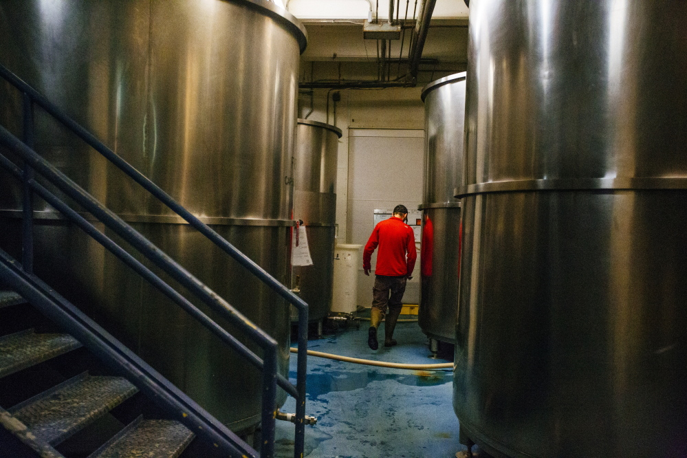 Shipyard Brewing Co.'s plant in Portland, seen Wednesday, slows its operations considerably from roughly October through April, leaving brewing equipment idle. A bill now before lawmakers would let large brewers like Shipyard lease time on their equipment to as many as nine smaller brewers.