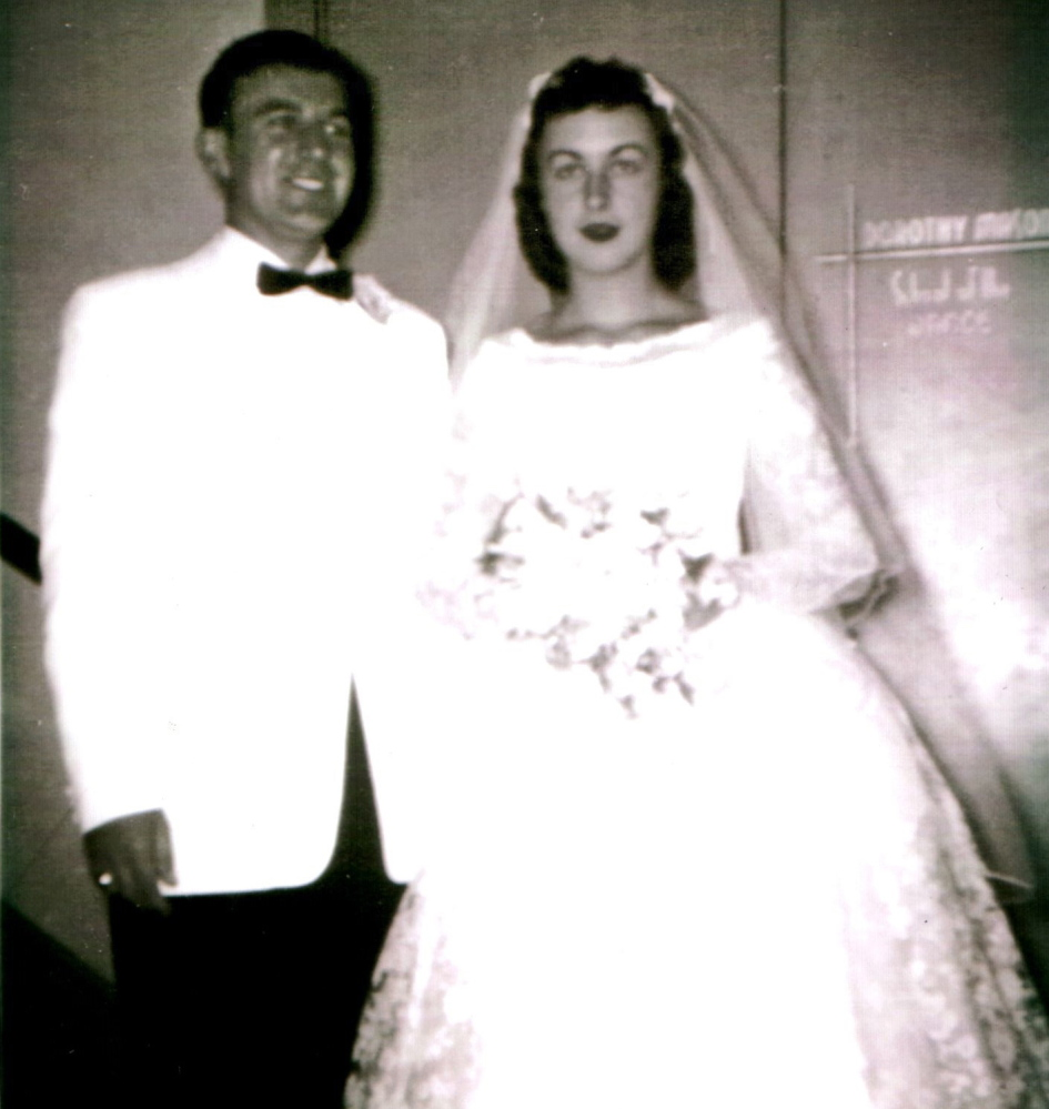Mary Profenno poses with her new husband, Peter, at their wedding. Married for 58 years, the couple raised three sons in the North Deering section of Portland.