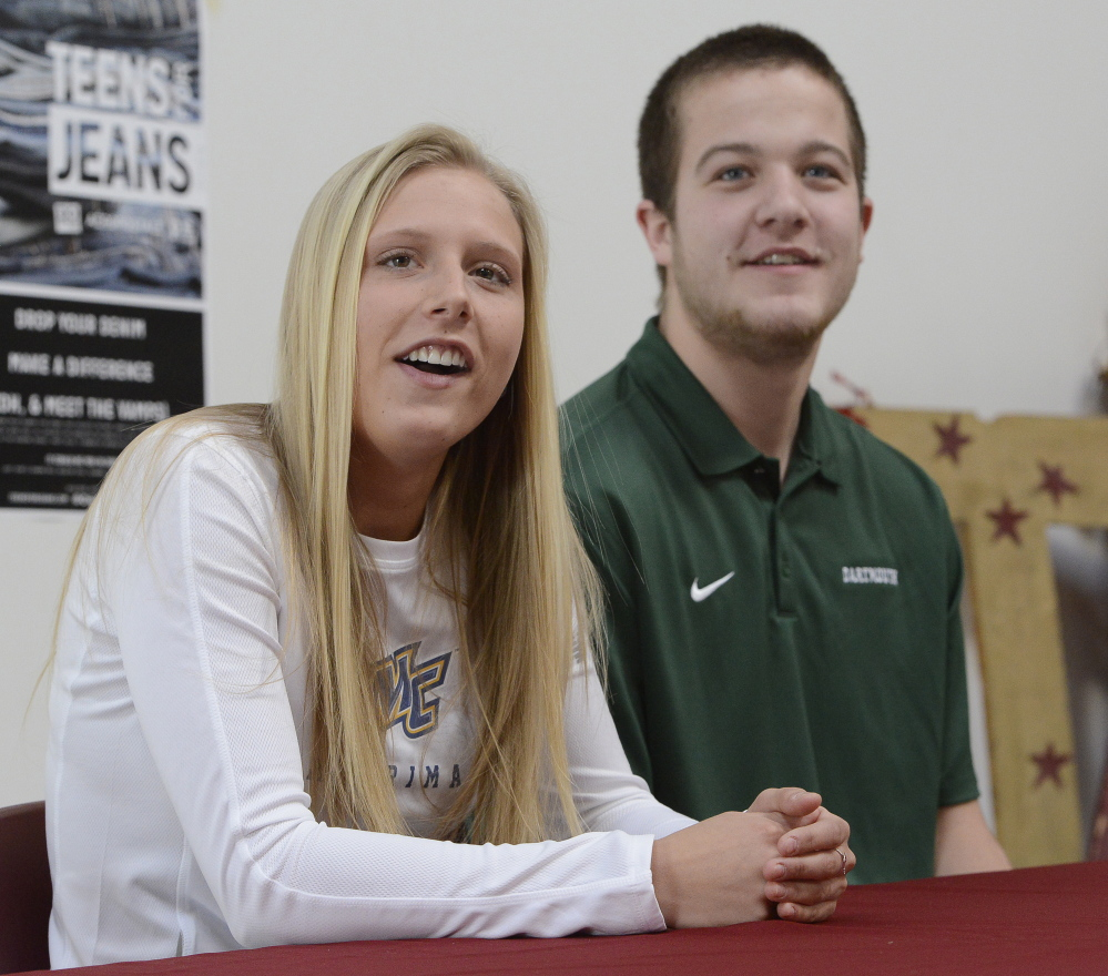 Thornton Academy's Tori Daigle and Kevin Barrett announce their college choices on Wednesday – Barrett's going to play football at Dartmouth and Daigle's headed to Merrimack to run track and play soccer.