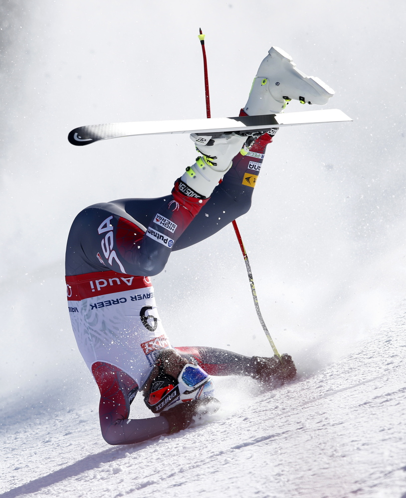 Bode Miller crashes during the men's super-G competition at the Alpine skiing world championships Thursday in Beaver Creek, Colo., knocking him out of the competition and putting the remainder of his skiing career in jeopardy.