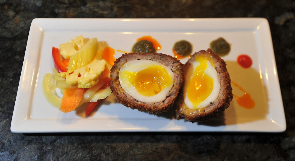The sausage and eggs for the Scotch eggs come from local providers.