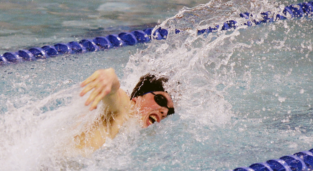 Westbrook's Greg Violette was a double-winner at the boys' North Southwesterns in Westbrook on Feb. 6, adding a win in the 100-yard freestyle to his victory in the backstroke. He was named the meet's outstanding performer.