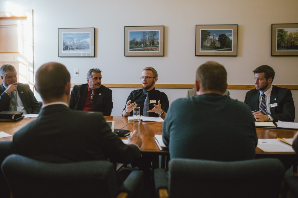 University of Maine junior Connor Scott meets with school officials in Orono last month to discuss student issues. Scott worked, was a resident adviser and now lives at a fraternity house to save on his bills, but he still expects to graduate with at least $10,000 in loans.