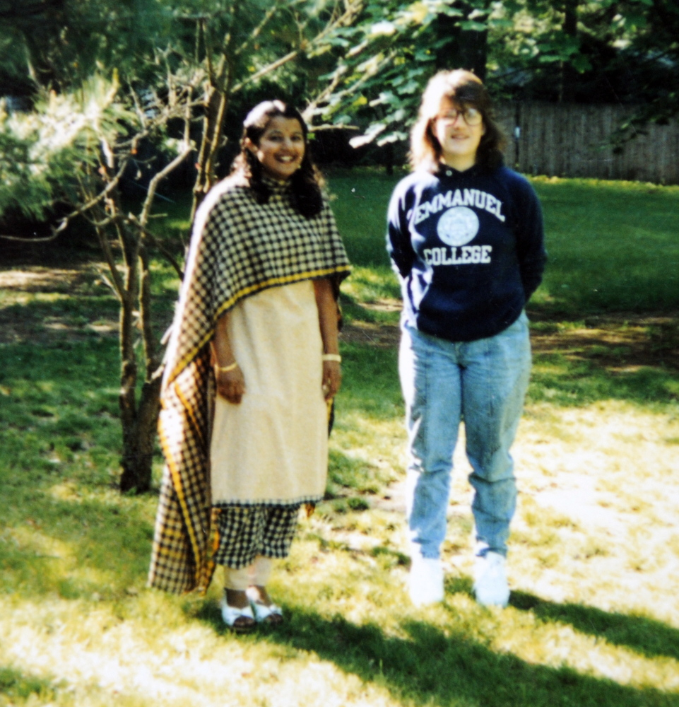 Sujatha Gunasekaran, left, finally met Samantha McGuire, right, in Springfield, Mass., in 1989, a couple years after Gunasekaran and her family moved to the United States from India.