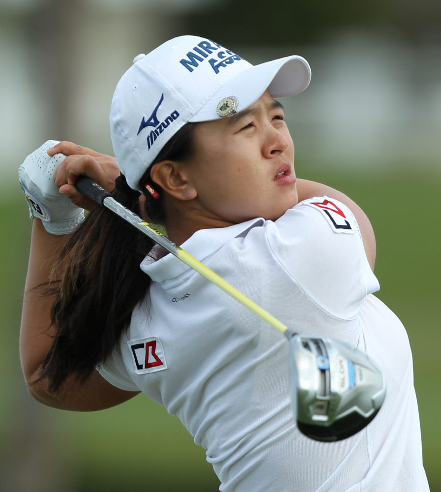 Sei Young Kim watches a drive in the final round of the Pure Silk-Bahamas LPGA Classic. Kim won in a playoff for her first LPGA Tour victory.
