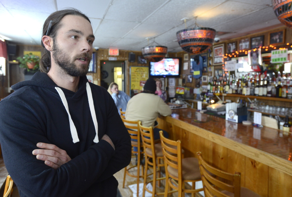 """Dana Sangillo is a third-generation owner of Sangillo's Tavern in Portland. """"I think that by closing us down, the city is losing part of its charm,"""" he says. John Patriquin/Staff Photographer"""