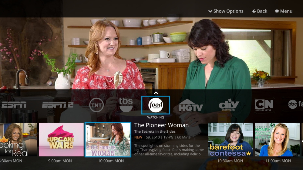The network user interface of the Sling TV app is shown here. SlingTV, Dish Network's online television package, was launched Monday with additions to its previously announced lineup.