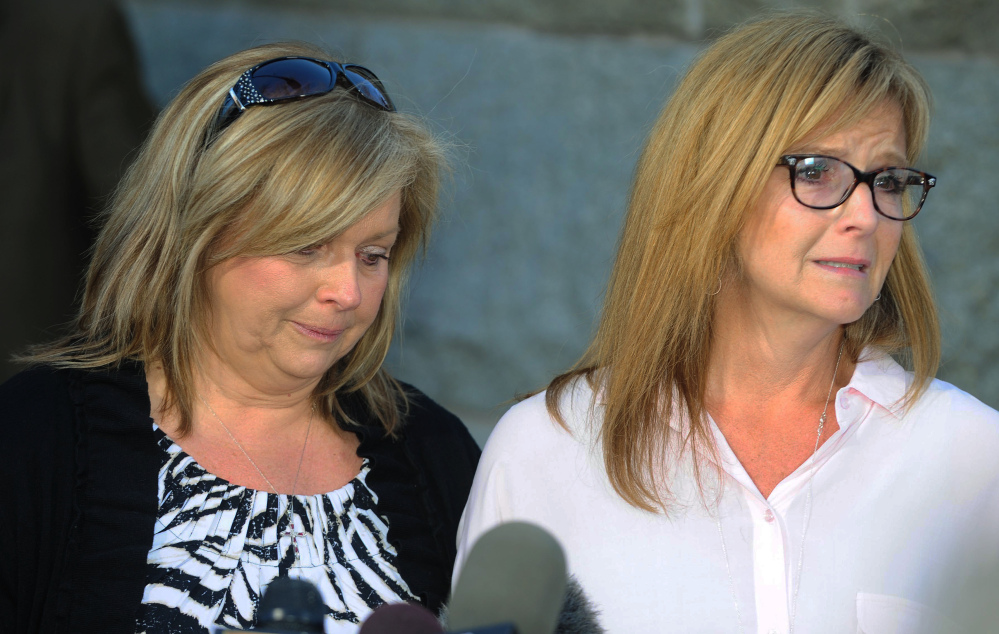Terri Crippes, left, and Lori Lyon talk about their niece Kayla Mueller in Prescott, Ariz., Tuesday. Mueller, held by Islamic State militants for 18 months, has been confirmed dead.