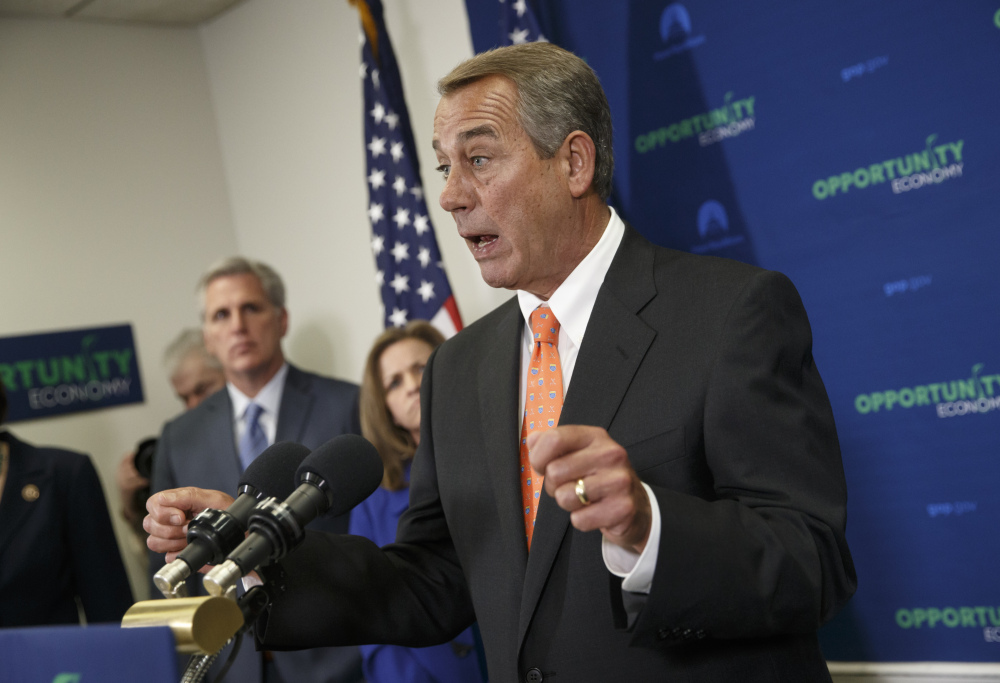 """""""The issue here is not Senate Republicans. The issue here is Senate Democrats,"""" House Speaker John Boehner tells reporters in Washington."""