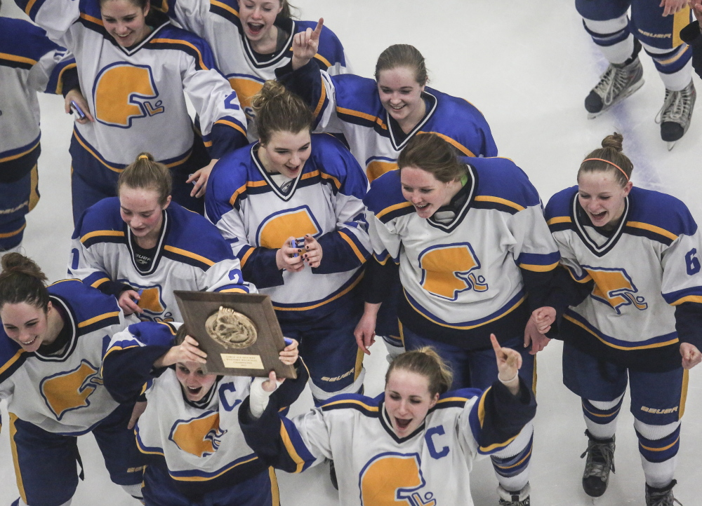 One title down and for the Falmouth girls' hockey team, there's plenty of hope for another one Saturday night. The Yachtsmen won Western Maine on Wednesday with a 4-2 victory against Scarborough and will meet undefeated Lewiston in the state final.