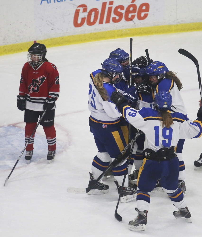 Falmouth did most of the celebrating in opening a 4-0 lead as Scarborough watched the defense of its state championship slip away. The Red Storm did come back with two goals.