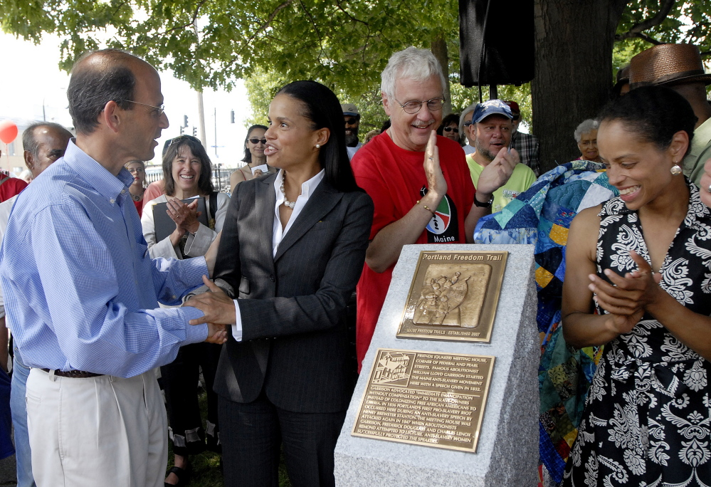 Actress Victoria Rowell, second from left, has filed a discrimination lawsuit against CBS. She is shown at a Portland event in 2007 with then-Gov. John Baldacci.