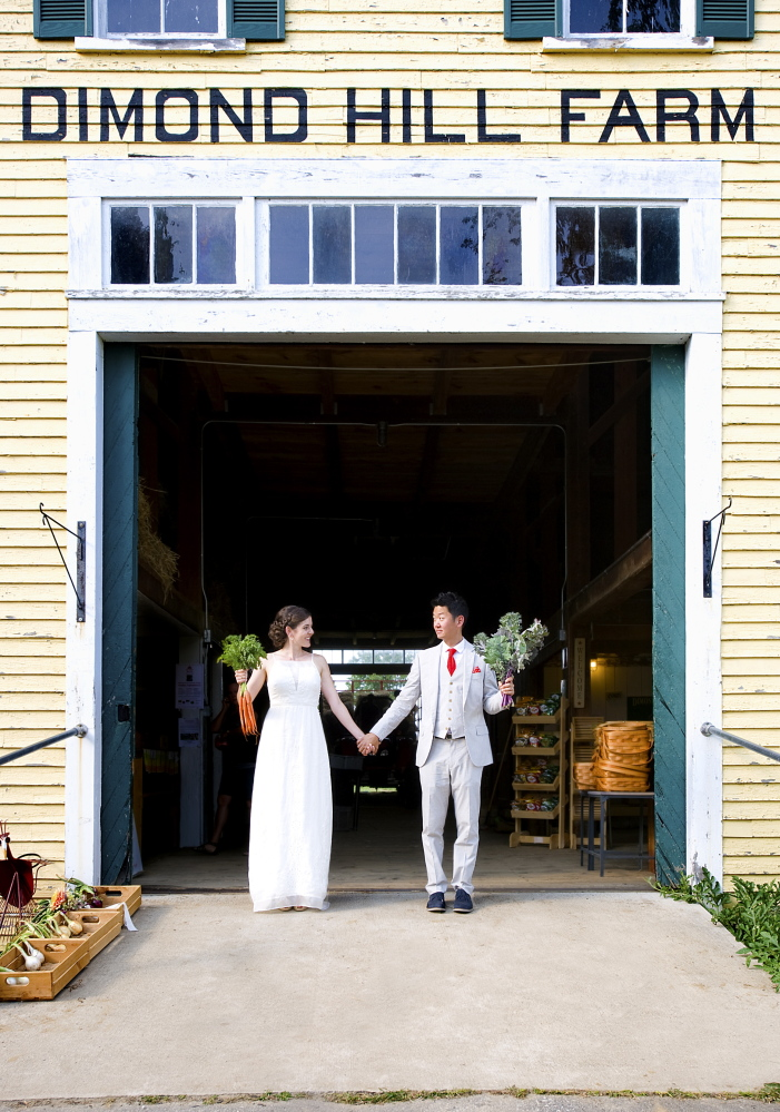 Chelsea Conaboy and husband Yoon Byun on their wedding day at Dimond Hill Farm in Concord, N.H.