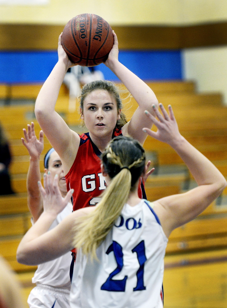 Sophomore Skye Conley has stepped up for Gray-New Gloucester this season, averaging 9.2 points and 8.4 rebounds per game.