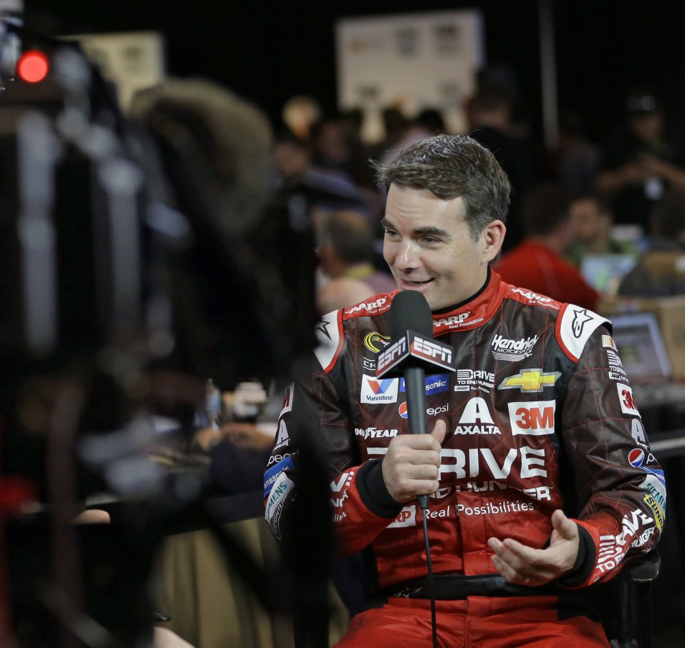 Jeff Gordon answers questions during media day at Daytona International Speedway on Thursday. This could be the last Daytona 500 for the four-time NASCAR champion.