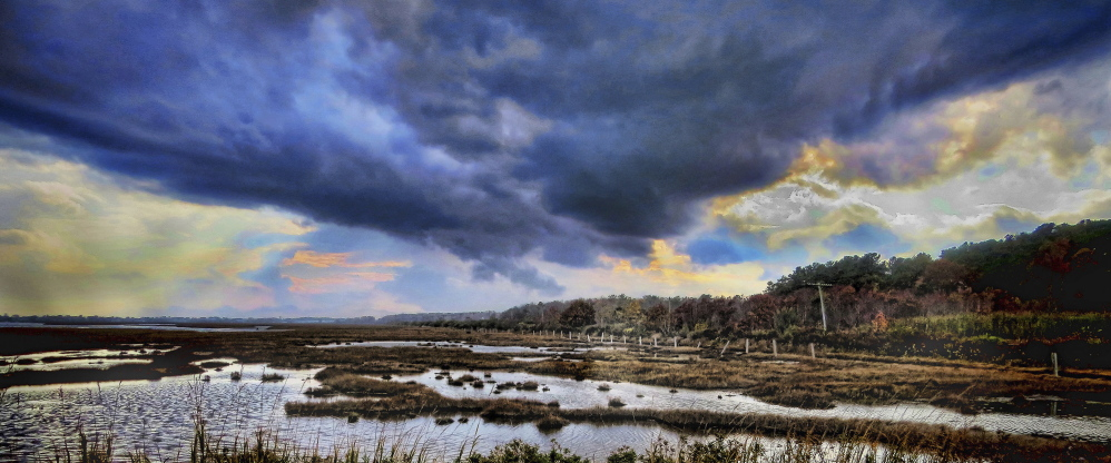 """Storm Over the Marsh, Scarborough, Maine,"" 2015, by Mason Phillip Smith"