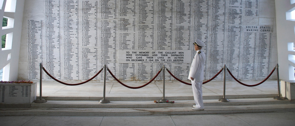 Retired Navy Lt. Cmdr. Joseph Langdell stands in the Shrine Room of the USS Arizona Memorial in Pearl Harbor, Hawaii, on Dec. 7, 2008. The photo was provided by his son, Ted Langdell.